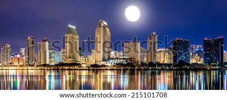 City of San Diego California Downtown Sunset Panorama with Moon - stock photo