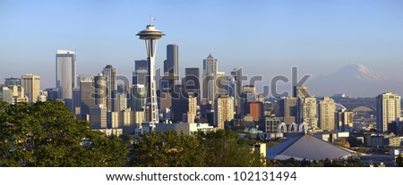 City of Seattle panoramic view and Mt. Rainier. - stock photo