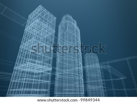 City of skyscrapers in shapes. Concept 3D design - stock photo