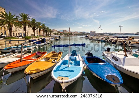 City of Split colorful harbor view, Dalmatia, Croatia - stock photo