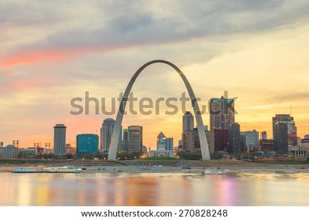 City of St. Louis skyline. Image of St. Louis downtown  at twilight. - stock photo