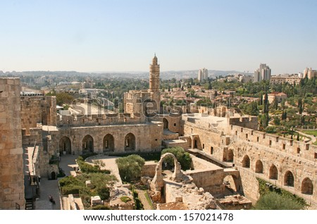 City of the king David in Jerusalem with the tower of David in the background. Israel. - stock photo