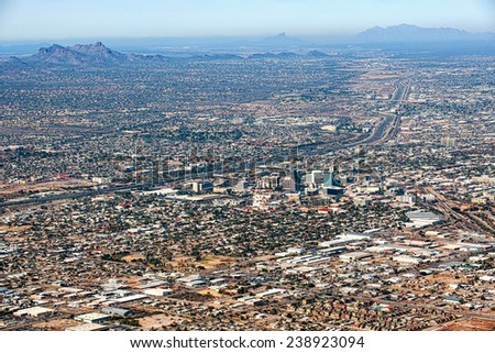 City of Tucson, Arizona aerial view looking at downtown and Interstate 10 - stock photo