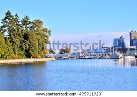 City of Vancouver, view from Coal harbor Stanley park