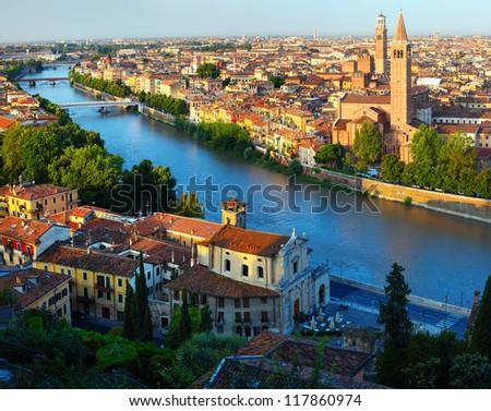 City of Verona with river at sunny day. Italy - stock photo