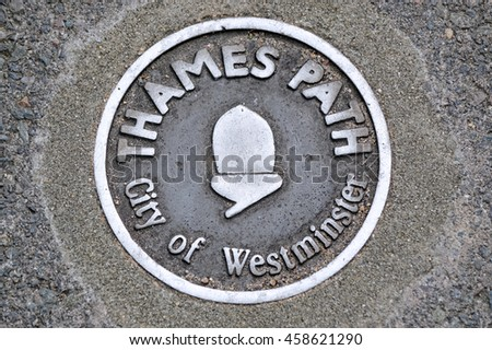 City of Westminster. London - Thames Path sign - stock photo