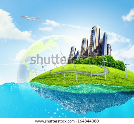 City on island floating in water. Global warming