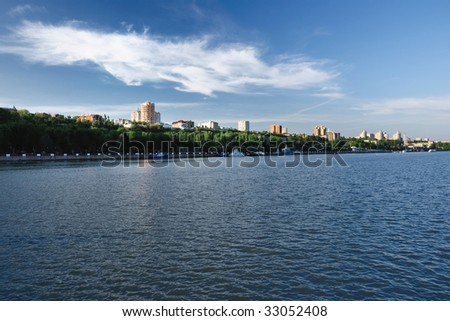 City on river bank. Rostov-on-Don