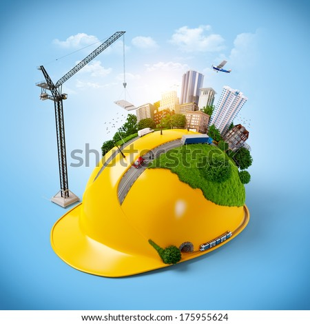 City on the construction helmet.  - stock photo