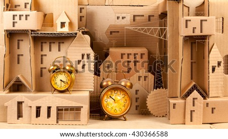 City out of corrugated cardboard.3D illustration.