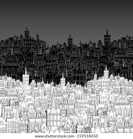 City, painted in black and white outline - stock photo