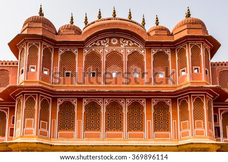 City Palace, a palace complex in Jaipur, Rajasthan, India. It was the seat of the Maharaja of Jaipur, the head of the Kachwaha Rajput clan. - stock photo