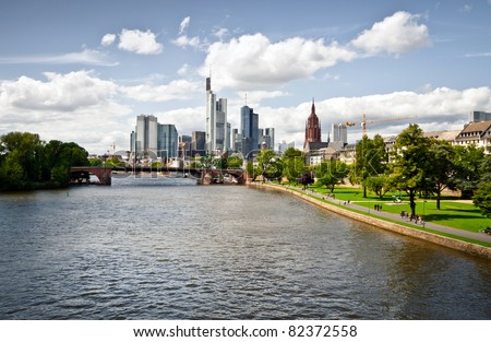 City panorama of the financial district in Frankfurt - stock photo