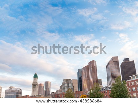 City panoramic view from North End Park - Boston, MA. - stock photo