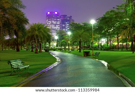 City Park. At night, Bangkok, Thailand - stock photo
