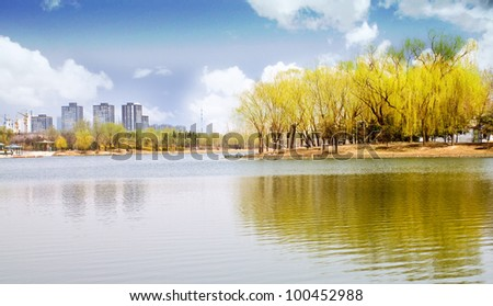 City park beside the lake, green trees in it with reflections and everything seems tranquil - stock photo