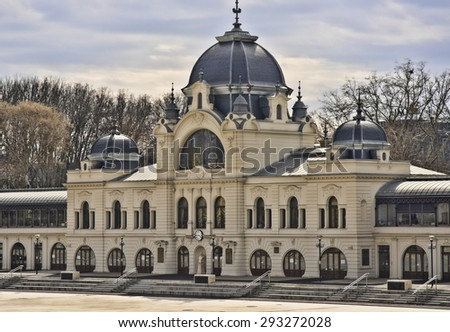 City Park Ice Rink (largest in Europe) building (built 1870), Budapest - stock photo