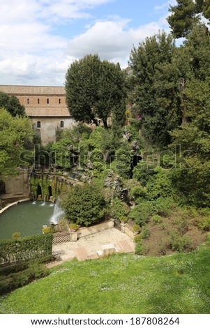 City park in the Italian province: parks, fountains & castles - stock photo