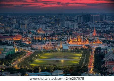 City park, Wat Prakeaw and Grand palace at twilight in Bangkok, Thailand - stock photo