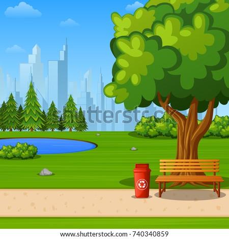 City Park Bench Under Big Tree Stock Illustration ...