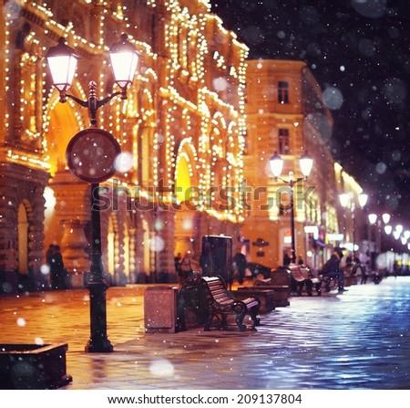 city pedestrian street night city lights - stock photo