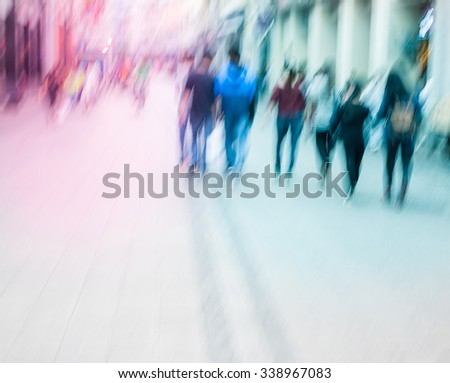city people walking in the commercial street, color blurred motion