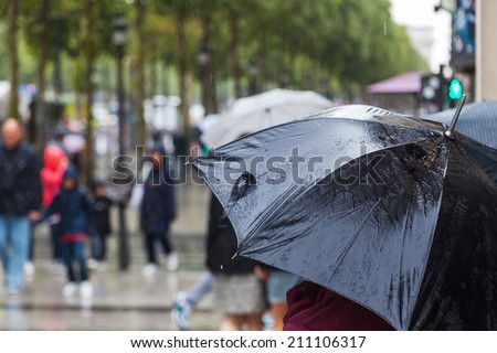 city people walking with umbrellas in the rainy city