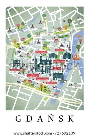 City Plan Map Gdansk Poland Poster Stock Illustration 727692109