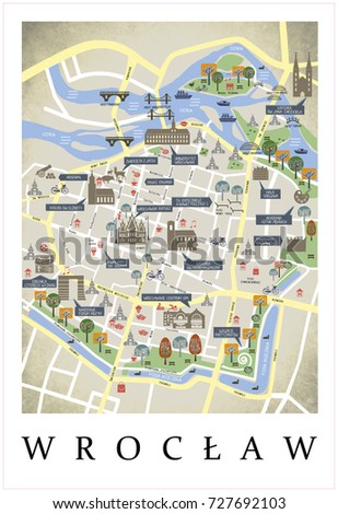 City Plan Map Wroclaw Poland Poster Stock Illustration 727692103