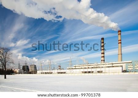 city power plant in a winter season - stock photo