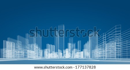 City project. 3d render image - stock photo