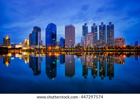 City reflection with the river front, Bangkok of Thailand