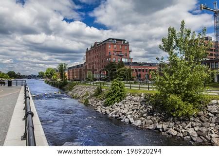 City river landscape - stock photo