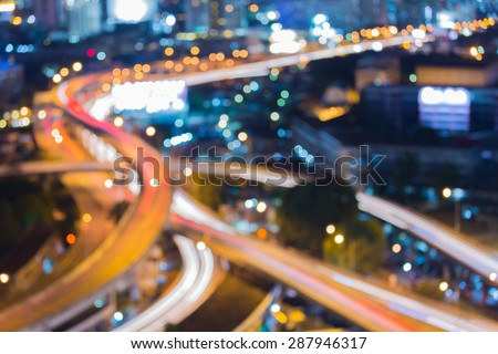 City road curve night traffic light, abstract blur bokeh background