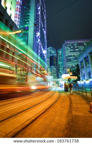 City road light trails of streetscape buildings backgrounds in HongKong