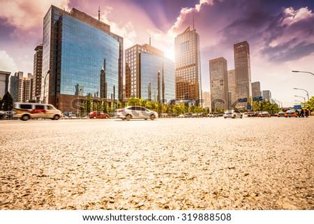 city road on sunset in Beijing. - stock photo