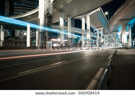 City road viaduct streetscape of night scene - stock photo