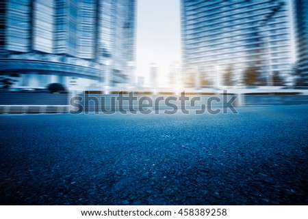 City road with moving traffic,tianjin china. - stock photo
