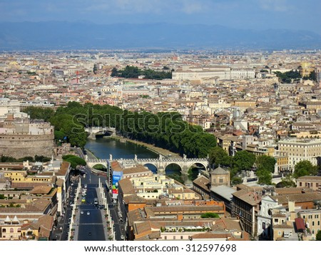 City roofs and river view, Rome, Italy