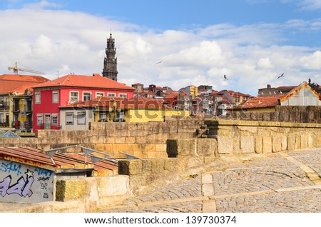 city roofs and tower of Clerigos Church, Porto, Portugal - stock photo