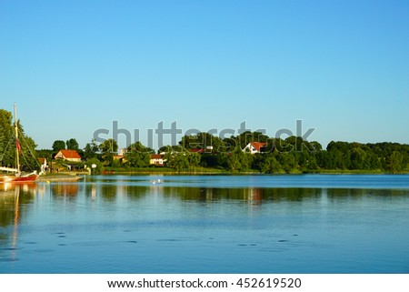 City Ryn. Sailing on the Masurian lakes in Poland.