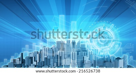 City's economy against background of card with major centers of the developing countries - stock photo