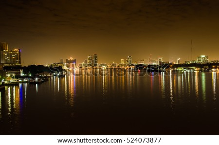 City scape at midnight,landscape