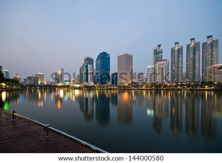 City scape at night in the Bangkok city, Thailand - stock photo