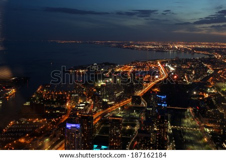 City scape at night of Toronto, Canada   - stock photo