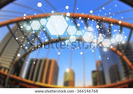 City scape background abstract blur in the evening, Concept network connection of urban life. - stock photo