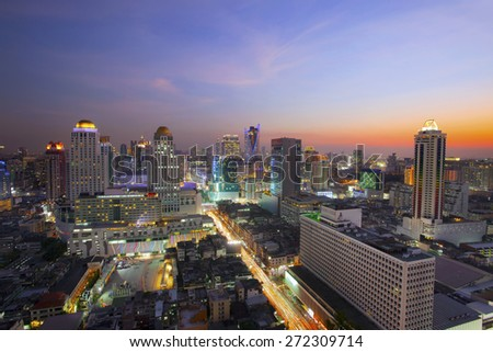 city scape in heart of bangkok thailand with beautiful lighting of office building and sky scrapper against dusky sky twilight time