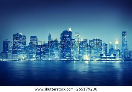 City Scape New York Buildings Travel Concept - stock photo