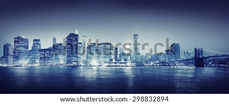 City Scape New York Buildings Travel Concept - stock photo
