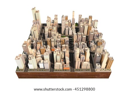 City scape with trees and streets. High buildings. Model of town isolated on the white. Floating island as toy. 3D render.  - stock photo